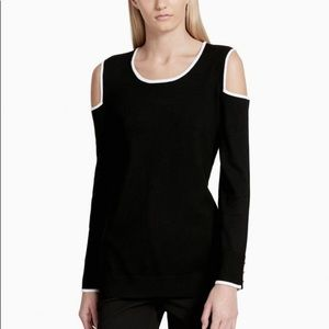 Calvin Klein Cold Shoulder Piped Sweater